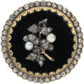 Estate Jewelry:Brooches - Pins, Diamond, Cultured Pearl, Enamel, Gold Brooch. ...
