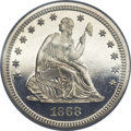 Proof Seated Quarters, 1868 25C PR65 Cameo NGC....