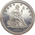 Proof Seated Quarters, 1867 25C PR67 Cameo NGC....