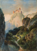 Fine Art - Painting, European:Antique  (Pre 1900), GERMAN-AUSTRIAN SCHOOL (19th Century) . The Castle of Karneid,South Tyrol, Italy. Watercolor on paper. 17-1/2 x 12-3/4 ...