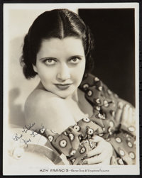 """Kay Francis (Warner Brothers, 1930s). Autographed Portrait Photo (8"""" X 10""""). Miscellaneous"""