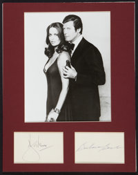 """The Spy Who Loved Me (United Artists, 1977). Autographed Cards (2) (3"""" X 5"""") and Re-Strike Photo (8"""" X 10..."""
