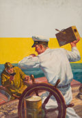 Pulp, Pulp-like, Digests, and Paperback Art, LAURENCE HERNDON (American, b. 1883). Trouble on Board, pulpcover. Oil on canvas. 33 x 23 in.. Signed lower left.F...
