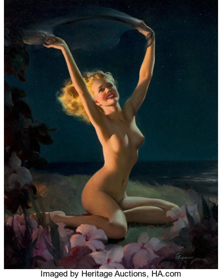 GIL ELVGREN (American, 1914-1980) Gay Nymph, 1947 Oil on canvas 36 x 25 in. Signed lower right From the Estate ...