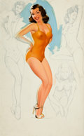 Pin-up and Glamour Art, TED WITHERS (American, 1896-1964). Pin-Up in Orange Suit withSketches. Oil on board. 29.5 x 18.5 in.. Not signed.F...