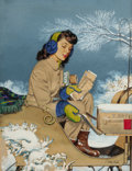 Mainstream Illustration, ALEXANDER SHARPE ROSS (American, 1908-1990). Getting the Mail,Saturday Evening Post cover, January 29, 1944. Gouache an...