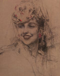 Pin-up and Glamour Art, ROLF ARMSTRONG (American, 1889-1960). Pin-Up in Hat, 1935.Charcoal and pastel on board. 20 x 16 in.. Signed and dated l...