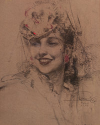 ROLF ARMSTRONG (American, 1889-1960) Pin-Up in Hat, 1935 Charcoal and pastel on board 20 x 16 in