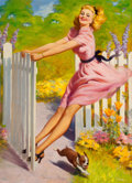Pin-up and Glamour Art, ART FRAHM (American, 1906-1981). Playtime, calendarillustration, 1949. Oil on canvas. 33 x 24 in.. Signed lowerright. ...