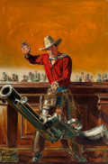 Pulp, Pulp-like, Digests, and Paperback Art, NORMAN SAUNDERS (American, 1907-1989). Throwing the Gun, WesternStory magazine, pulp cover, April 8, 1939. Oil on canva...