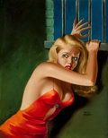 Pulp, Pulp-like, Digests, and Paperback Art, PETER DRIBEN (American, 1902-1968). The Prisoner, crime pulpcover, circa 1940s. Acrylic on board. 27 x 21 in.. Signed l...