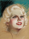 Pin-up and Glamour Art, CHARLES GATES SHELDON (American, 1889-1960). Portrait of JeanHarlow. Pastel on board. 15 x 11 in.. Signed lower left. ...
