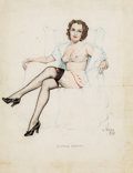 Pin-up and Glamour Art, ALBERTO VARGAS (American, 1896-1982). Sketch of a Woman.Conte crayon and colored pencil on paper. 11 x 8.25 in.. Signed...