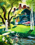 Mainstream Illustration, HARDIE GRAMATKY (American, 1907-1979). A Walk in the Garden.Gouache, watercolor, and tempera on board. 22 x 18 in.. Sig...