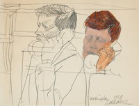 ROBERT L. WEAVER (American, 1924-1994) Kennedy, Washington, 1958 Pencil, watercolor, and gouache pap