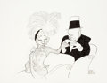 Mainstream Illustration, AL HIRSCHFELD (American, 1903-2003). W.C. Fields and Mae West inMy Little Chickadee. . This film closes with the ...