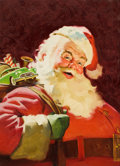 Mainstream Illustration, AMERICAN ARTIST (20th Century). Santa and His Bag of Gifts.Oil on canvas. 26.25 x 19.25 in.. Not signed. ...
