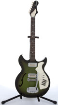 Musical Instruments:Electric Guitars, 1970 Harmony Rebel H-82G Green Electric Guitar #2811H82G....