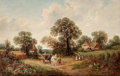 19th Century European:Landscape, JAMES EDWIN MEADOWS (British, 1828-1888). Sussex Landscape(Rural Scene with Hay Cart), 1884. Oil on canvas. 26 x 41inc...