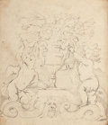 Fine Art - Work on Paper:Drawing, RICHARD COSWAY (British, 1742-1821). Cherubs and Flowers.Pencil on paper . 7-1/2 x 6-1/2 inches (19.1 x 16.5 cm). Signe...