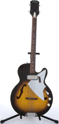 Musical Instruments:Bass Guitars, 1960's Harmony Sunburst Hollow Body Electric Bass Guitar #S63. ...