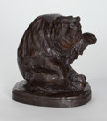 Sculpture, SOLON H. BORGLUM (American, 1868-1922). Bear with Raised Paw. Bronze with patina. 8-1/2 x 8 x 6 inches (21.6 x 20.3 x 15...