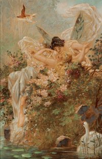 HANS ZATZKA (German, 1859-1945) Two Fairies Embracing in a Landscape with a Swan, circa 1900 Oil on