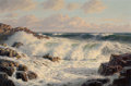 Fine Art - Painting, American:Modern  (1900 1949)  , JOSEF M. ARENTZ (American, 1903-1969). Breaking Waves, 1958.Oil on canvas. 24 x 36 inches (61.0 x 91.4 cm). Signed lowe...