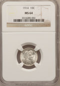 Barber Dimes: , 1914 10C MS64 NGC. NGC Census: (259/167). PCGS Population (278/198). Mintage: 17,360,656. Numismedia Wsl. Price for problem...