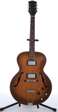 Musical Instruments:Electric Guitars, Vintage National Sunburst Archtop Semi-Hollow Body Electric Guitar#V30387....