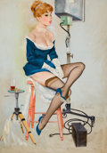 Pin-up and Glamour Art, FRITZ WILLIS (American, 1907-1979). In the Studio, Brown &Bigelow Calendar Pin-Up, December 1962. Oil on canvas. 34 x2...