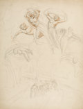 Fine Art - Work on Paper:Drawing, Joshua Cristall. Allegory of Plenty. Pencil and brown washon paper. 18 x 14-1/2 inches (45.7 x 36.8 cm). Signed lower r...