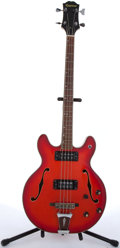 Musical Instruments:Electric Guitars, 1970s Epiphone 5120-E Red Archtop Semi-Hollow Body Electric BassGuitar #0116890....