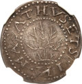 Colonials, 1652 6PENCE Oak Tree Sixpence --Obverse Scratched-- NGC Details.AU. Crosby 1a-D, Noe-20, W-400, R.6....