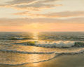 Fine Art - Painting, American:Modern  (1900 1949)  , JOSEF M. ARENTZ (American, 1903-1969). Sunset Over the Sea,1967. Oil on canvas . 16 x 20 inches (40.6 x 50.8 cm). Signe...