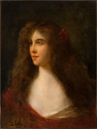 ANGELO ASTI (Italian/American, 1847-1903) Portrait of a Girl Oil on canvas 24 x 18 inches (61.0