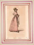 Antiques:Posters & Prints, Four Hand-Colored Period Costume Prints from WienerModen.... (Total: 4 Items)