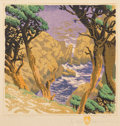 Prints, GUSTAVE BAUMANN (German/American, 1881-1971). Point Lobos, 1936. Woodcut in color on cream paper laid with the hand-in-h...