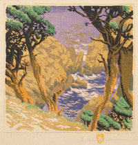 GUSTAVE BAUMANN (German/American, 1881-1971) Point Lobos, 1936 Woodcut in color on cream paper laid