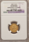 Classic Quarter Eagles: , 1835 $2 1/2 --Improperly Cleaned--NGC Details. XF. NGC Census:(17/260). PCGS Population (11/140). Mintage: 131,402. Numisme...