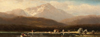 HUGO ULLIK (Austrian, 1838-1881) Scenic Views of Lake Ammersee (2) Oil on board 4 x 10 inches (10