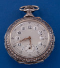 Timepieces:Pocket (post 1900), Swiss Raised Relief .900 Silver 52 mm Open Face Pocket Watch. ...