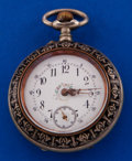 Timepieces:Pocket (post 1900), Swiss Nickel & Niello Enamel Pocket Watch. ...