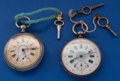Timepieces:Pocket (pre 1900) , Two - Swiss Fancy Dials Key Wind Pocket Watches Runners. ...(Total: 2 Items)
