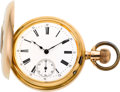 Timepieces:Pocket (post 1900), Swiss 18k Gold Double Dial Moon Phase Calendar Demi-Hunter, circa 1880's. ...