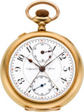 Timepieces:Pocket (pre 1900) , Agassiz 18k Gold Split Second Chronograph With Register, circa1890's. ...