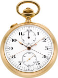 Timepieces:Pocket (post 1900), Swiss High Grade 18K Gold Split Second Chronograph With Register,circa 1910. ...