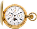 Timepieces:Pocket (post 1900), Swiss 18k Gold Minute Repeater With Chronograph, Calendar & Moon Phase, circa 1900. ...