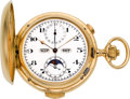 Timepieces:Pocket (pre 1900) , Swiss 18k Minute Repeater With Moon Phase, Chronograph &Digital Calendar, circa 1890. ...