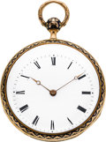 Timepieces:Pocket (pre 1900) , Bautte & Moynier Geneve Gold & Enamel Quarter Hour Repeater, circa 1850. ...